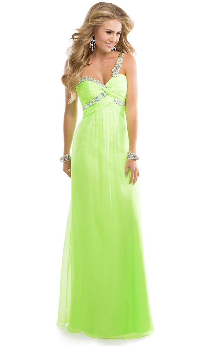 One shoulder lime green prom dress 2014 Chiffon prom