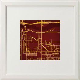 Arizona State University Tempe Campus Map.Map Of Asu Tempe Done In Asu Colors Arizona State Home Decor