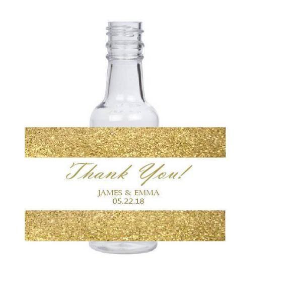 10 3x2 inch gold glitter background Customized Personalized Mini Liquor bottle Labels #goldglitterbackground