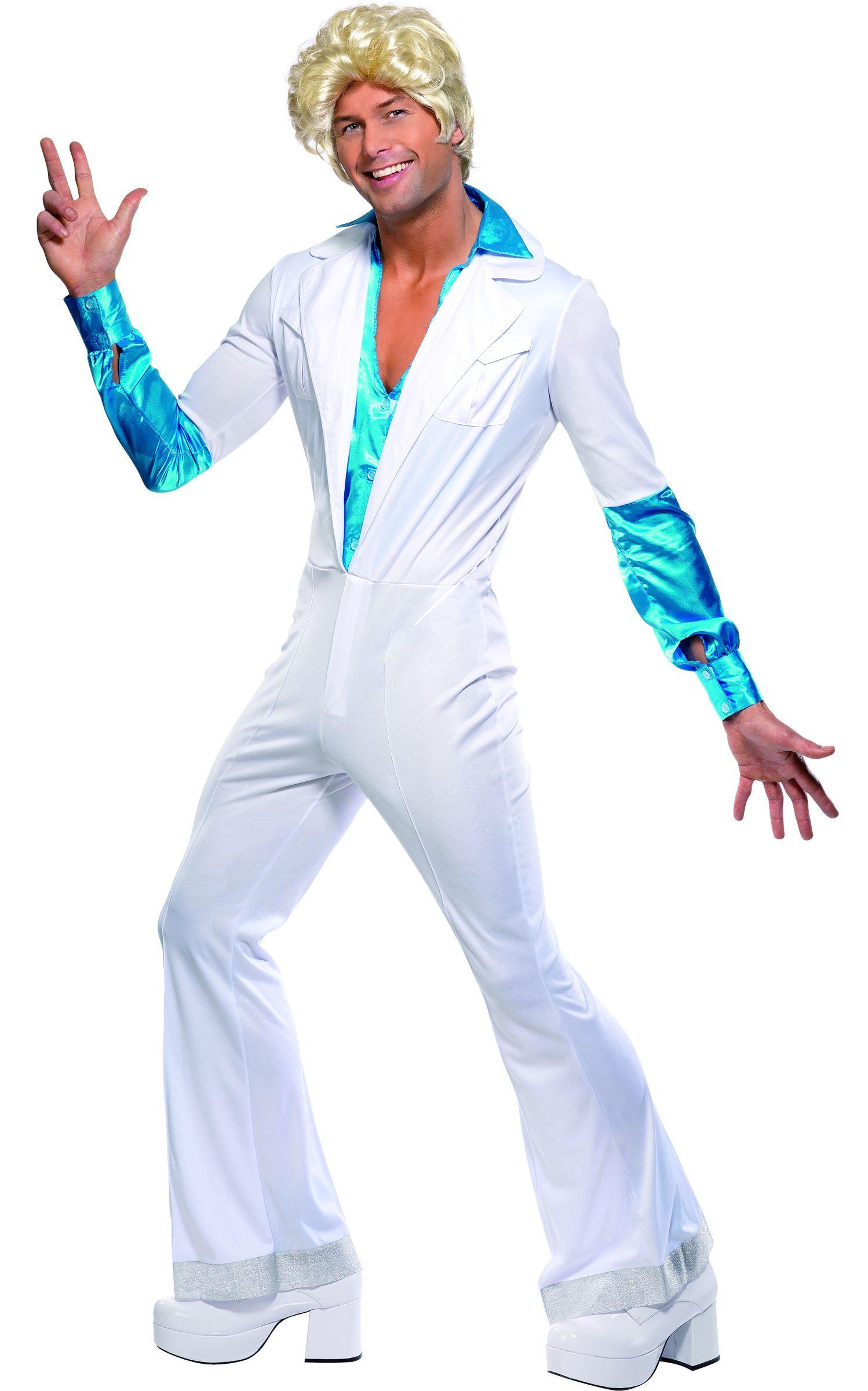 7e63e04f15f3 Costume disco uomo  Questo travestimento da discoteca per uomo è composto da  una tuta bianca