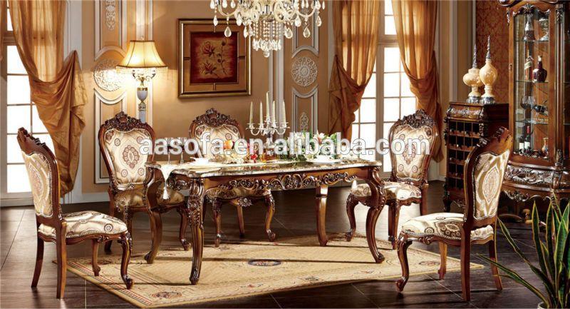 Muebles cl sicos de madera de lujo comedor juego de for Muebles de comedor elegantes