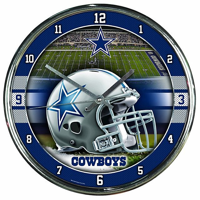 Dallas Cowboys Bedroom Decor: Dallas Cowboys Chrome Graphic Clock