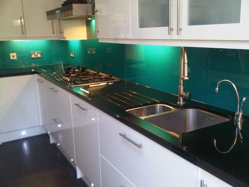 Turquoise splashback with black and white kitchen google for Sink splashback ideas