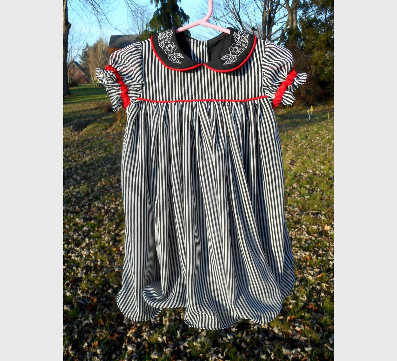 Dress Little Girls Chiffon Black White Stripe 18m 2t Dresses Trending Outfits Girls Dresses [ 1363 x 1500 Pixel ]