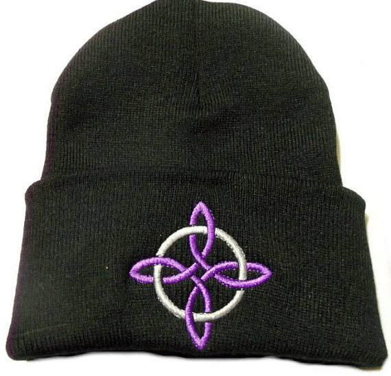 Witches Knot Symbol Lavender Embroidered Black Beanie Hat