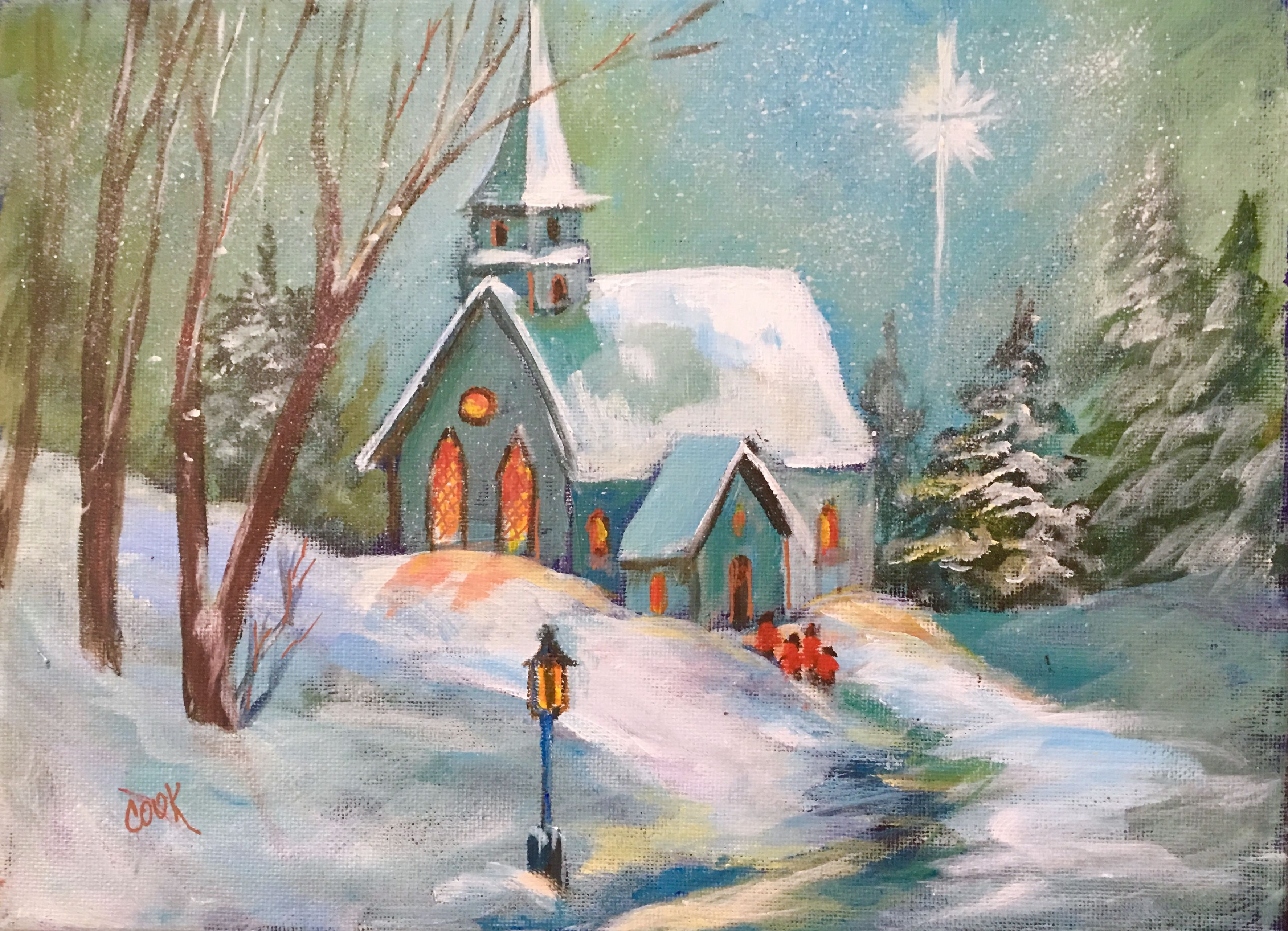 Snow Covered Church Painting Youtube Lesson Sno Painting