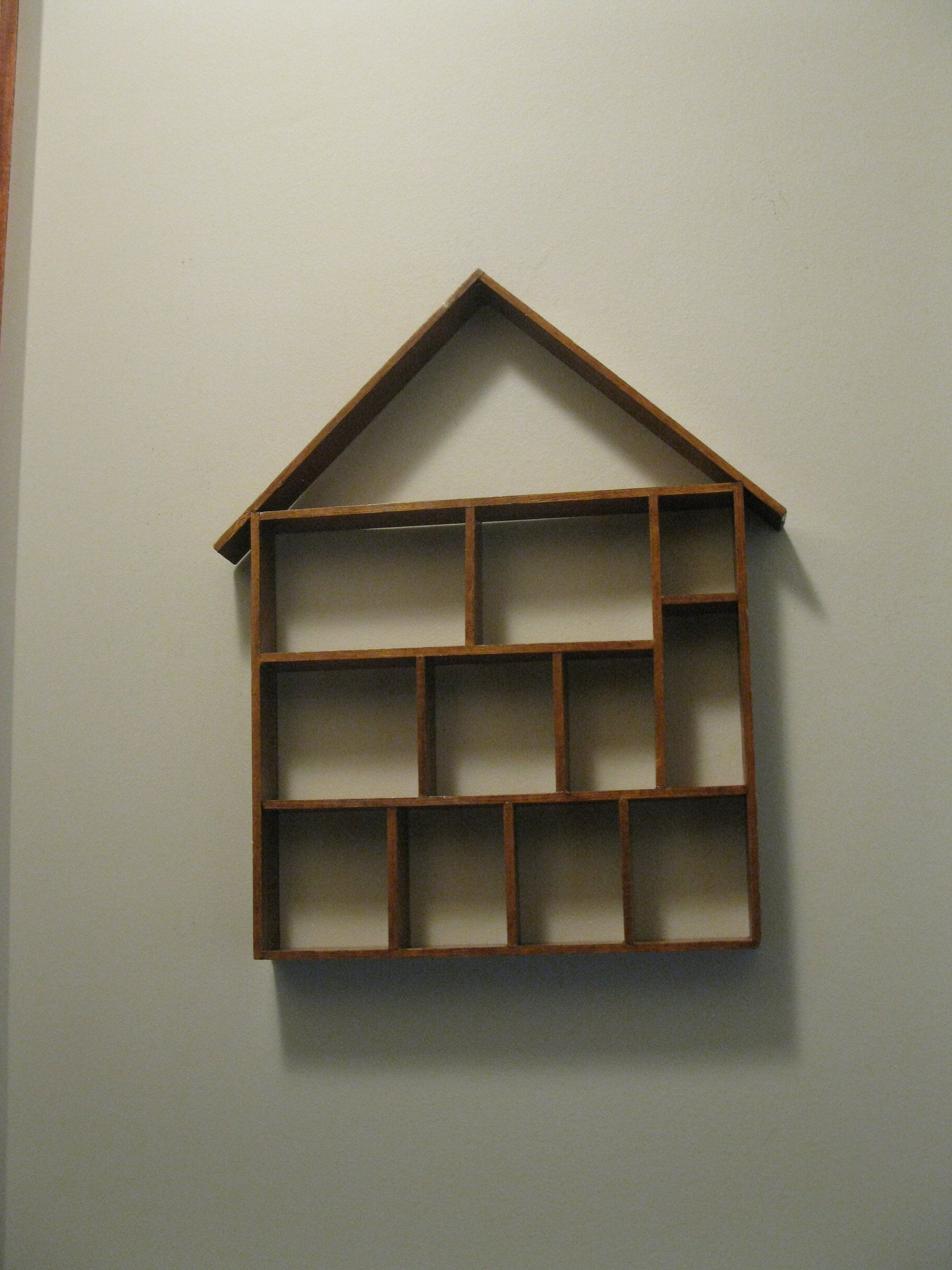 Wood Shadow Box House Shaped 15 1 2 X 13 Knick Knack Trinket Display Case Wall Curio Miniatures Collections Wood Shadow Box Box Houses Shadow Box