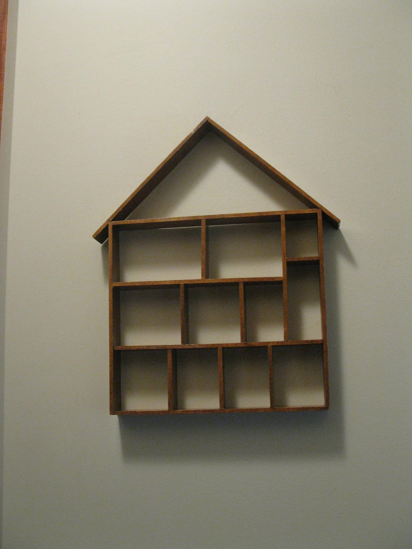 Wood Shadow Box House Shaped 15 1 2 X 13 Knick Knack Trinket Display Case Wall Curio Miniatures Collections Wood Shadow Box Box Houses Shadow Box