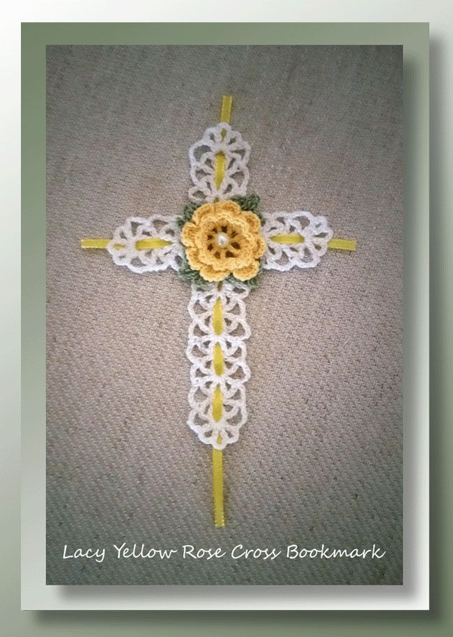 Lacy Yellow Rose Cross Bookmark Free Crochet Easter Bookmark