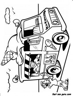 Free Printable Ice Cream Truck Coloring In Sheet For Kids