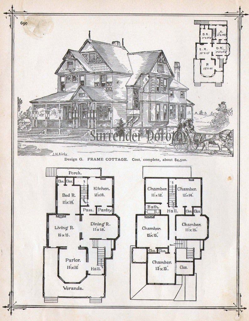 Frame Cottage House Plans 1881 Antique Victorian Architecture Print To Frame Country Home Victorian House Plans Vintage House Plans Cottage House Plans