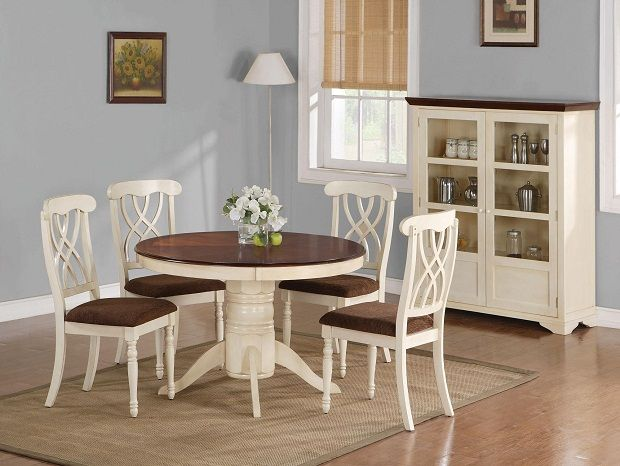 Dark Brown Wooden Dining Chairs Chair And A Half Glider Recliner Furniture Simple Round Table With White Leg 4 Cushion For Room Design Small Spaces