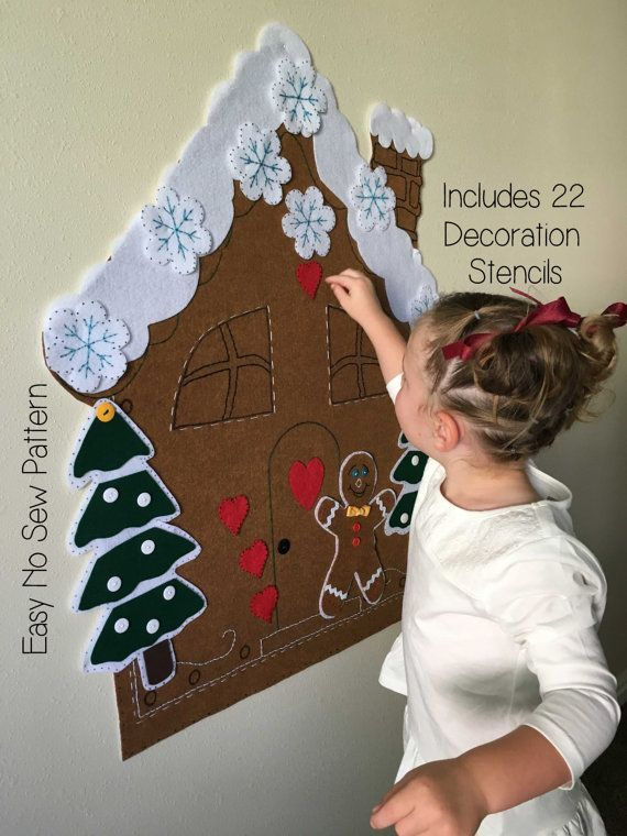 Kids Christmas Activity - Felt Gingerbread House PATTERN - Felt