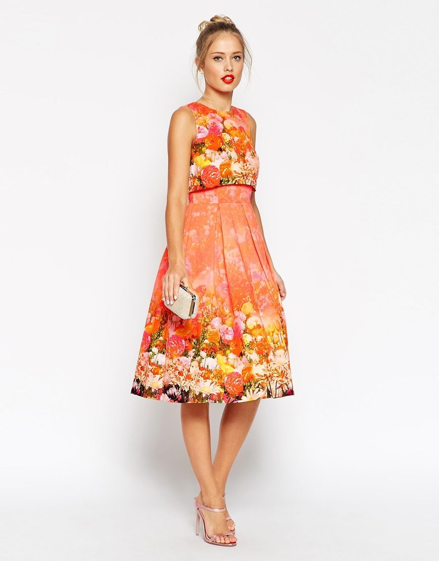 Asos crop top prom dress in faded floral fashion pinterest