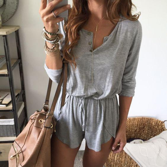 Pure Color Scoop Long Sleeves Short Loose Jumpsuit In 2020