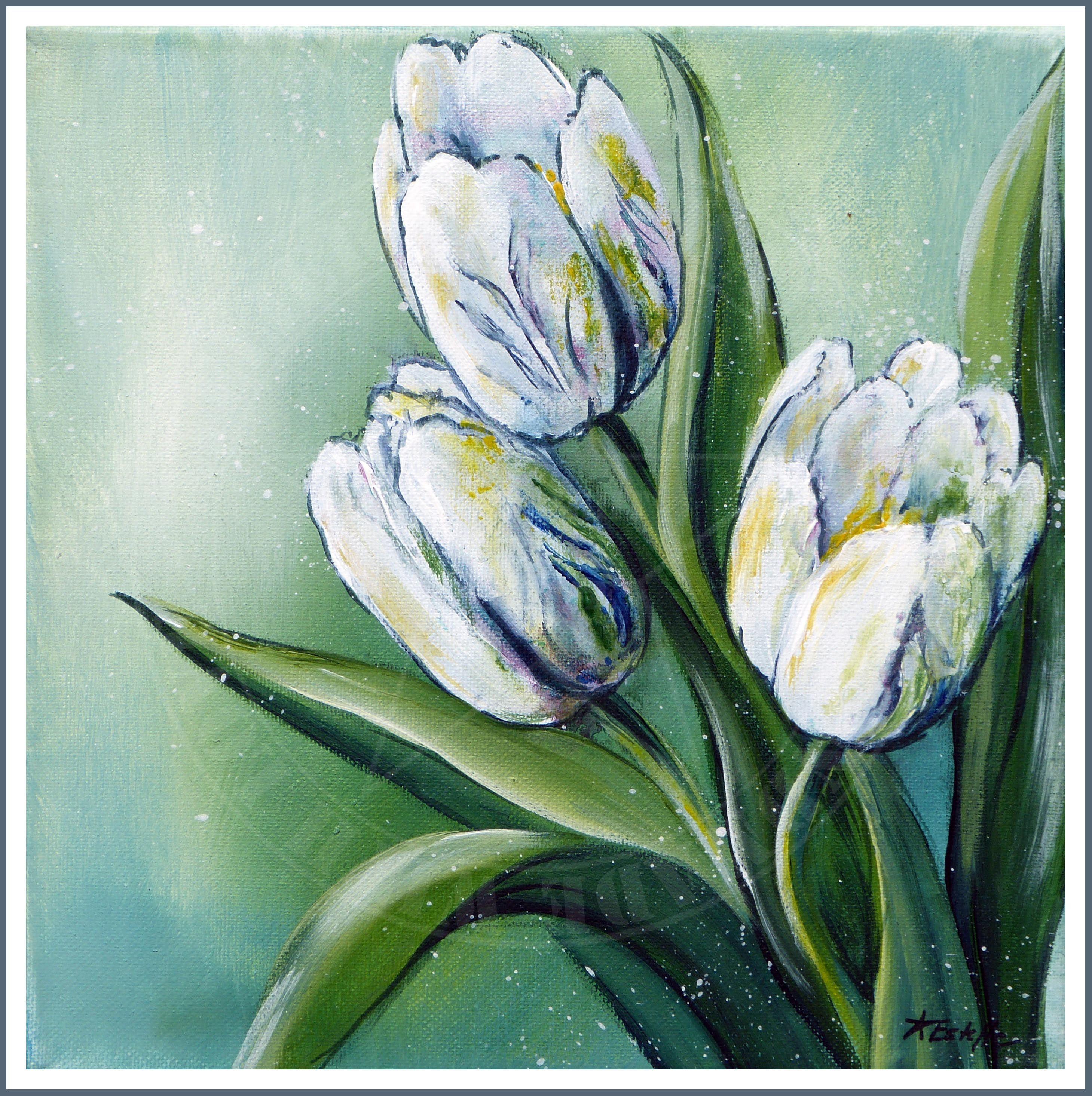 Tulpen Acrylic Art On Canvas Acryl Kunst Acrylmalerei Blumen