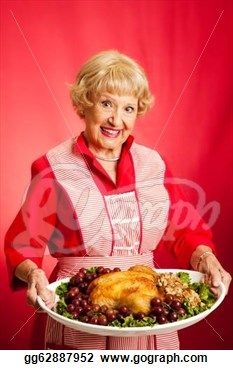 """Sweet retro grandmother holding a thanksgiving holiday turkey dinner with a red background""- Thanksgiving Holiday Stock Photo from Gograph.com"