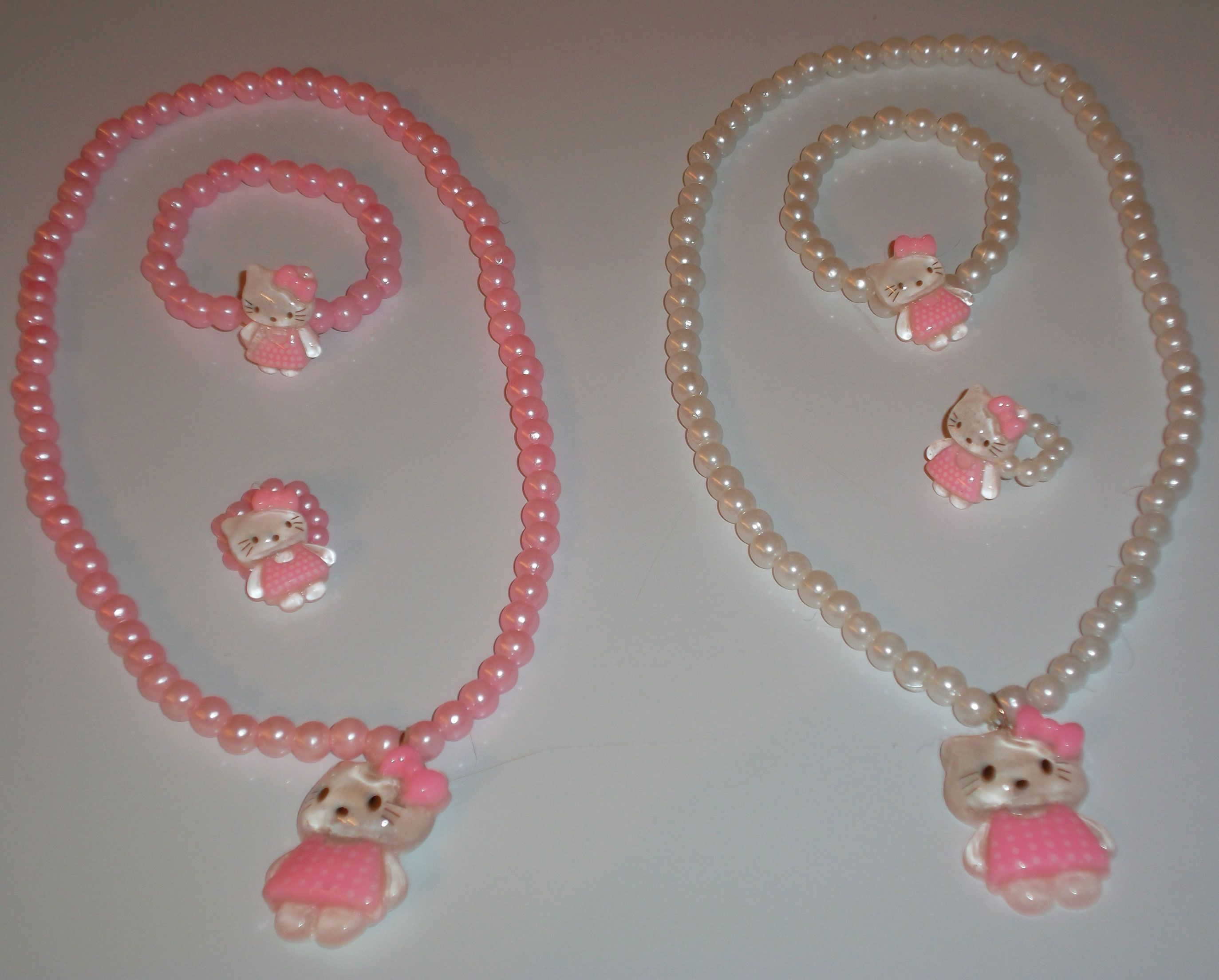Little girlus pearl jewelry sets with kitty pendants necklace