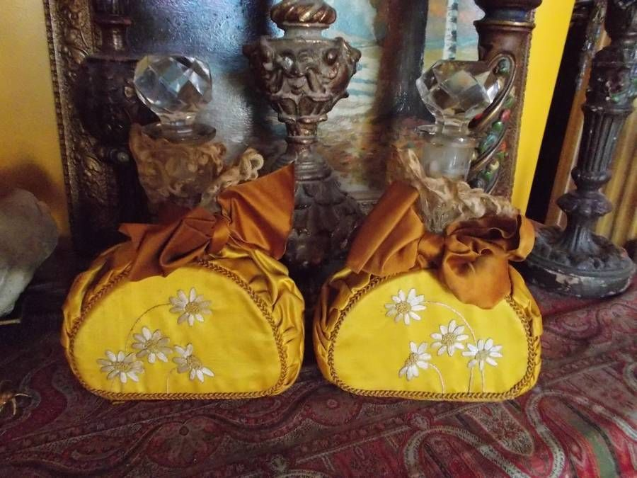 """Pair French Perfumes Silk Embroidery Lace Crystal Huge 10"""" Chic Victorian 1800'S"""