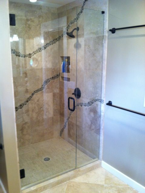 This Shower Utilizes Very Unique Decorative Tile Additionally The Intelligent Function Of The D Frameless Shower Enclosures Shower Enclosure Frameless Shower
