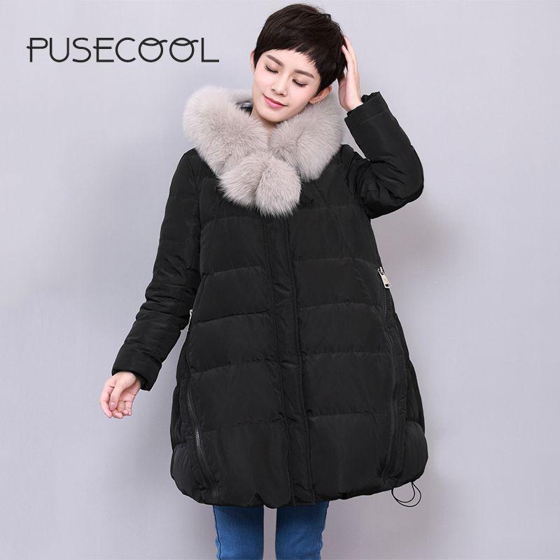 PUCECOOL 2017 Warm Thick Big Butt Duck Down Jacket Coat Plush ...