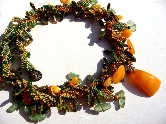 Sunflower Seeds Beadwoven Necklace  Amber by gypsyeyesjewelry