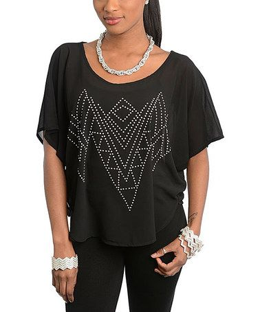 Look what I found on #zulily! Black Geo Stud Cap-Sleeve Top #zulilyfinds