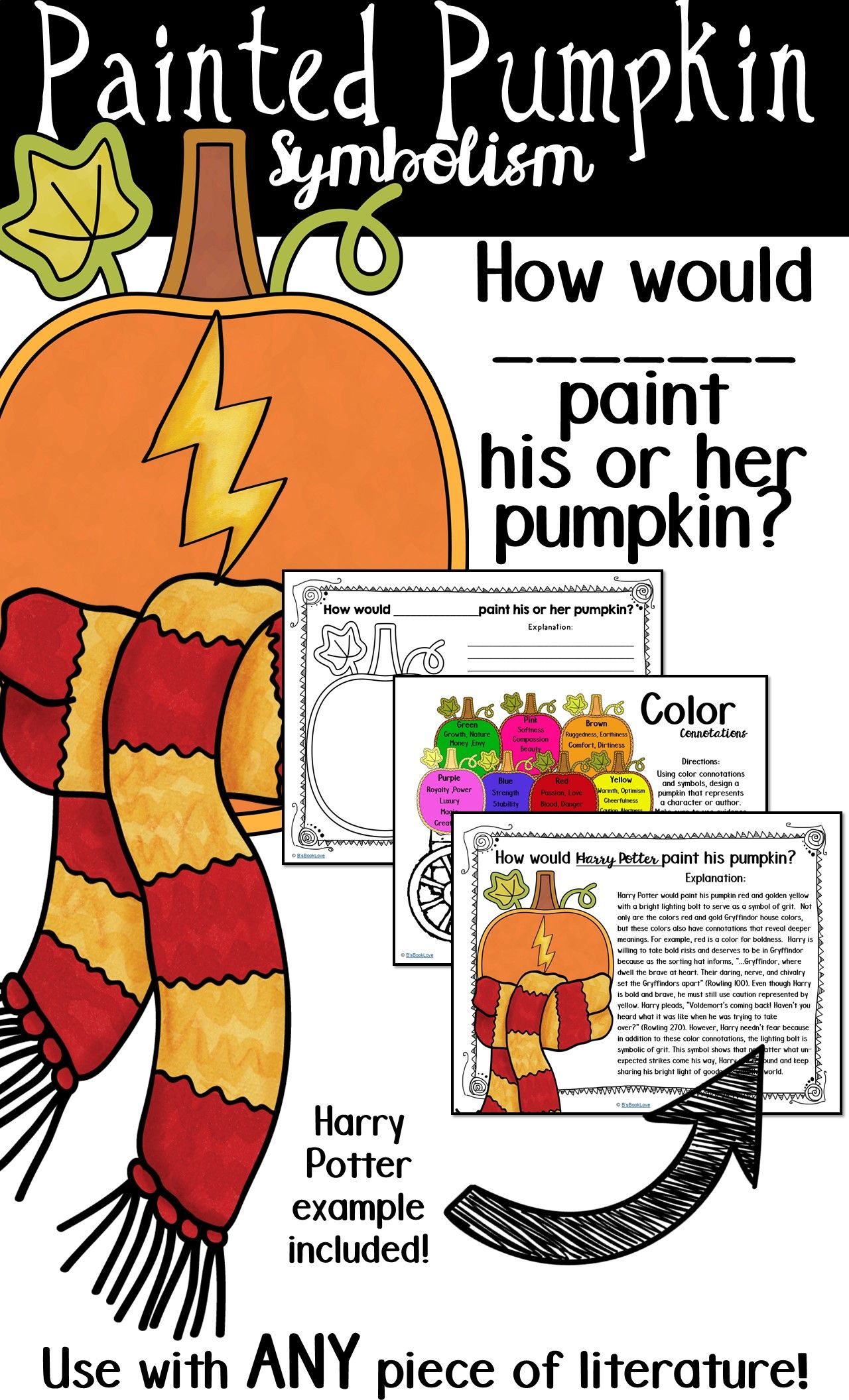 How Would Harry Potter Or Any Character Paint His Or Her Pumpkin A Fun Evidence Based Halloween Writing Halloween Writing Prompts Middle School Ela Activities