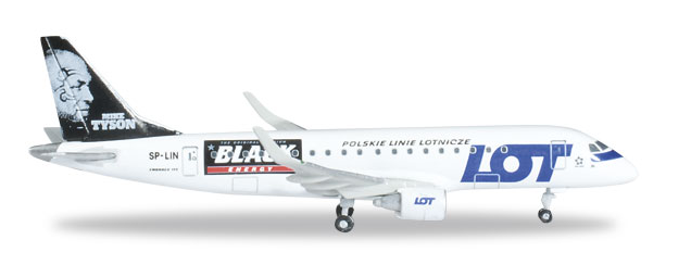 "1/500 Herpa Lot Polish Airlines ""Mike Tyson-Black Energy"" Embraer ERJ-175"