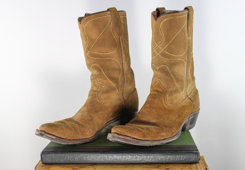 5f3bd5feb7880 Vintage Cowboy Boots | Brown Suede Western Boots | Men's US 9.5 D ...