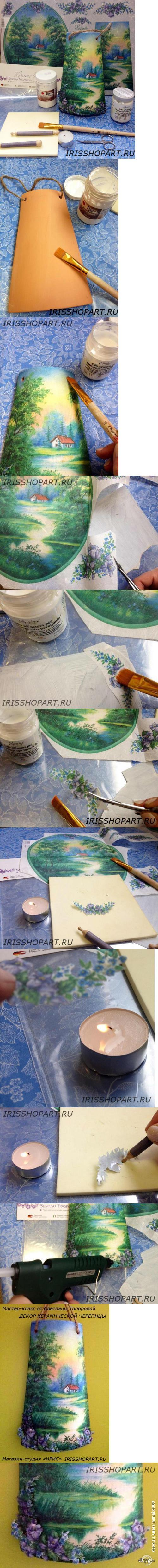 Pin de sandi duncan en decoupage el arte de la artesan a tejidos y decoracion pintura - Pintar tejas de barro ...