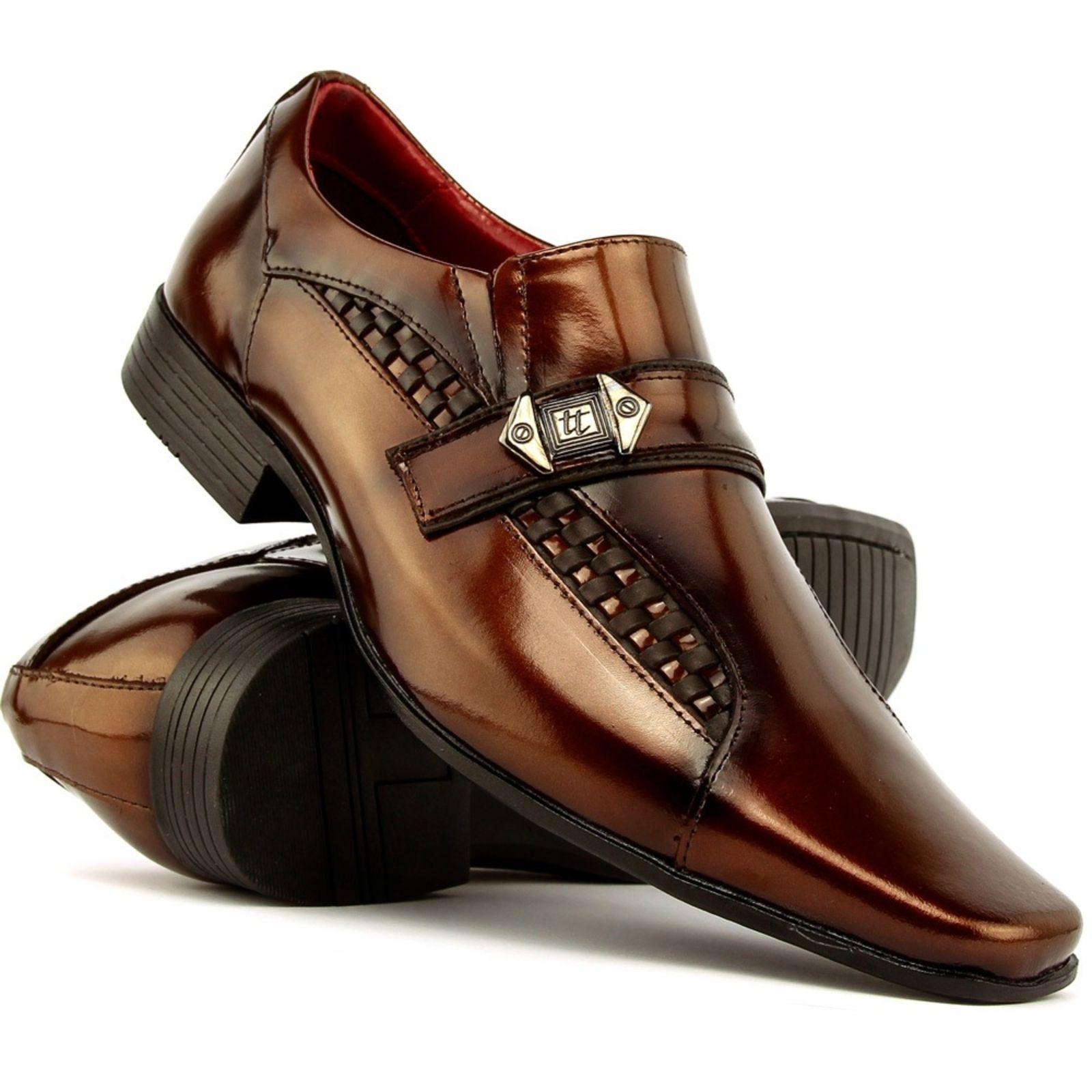 8f4ac9f1e Sapato Social em Couro Envernizado SapatoFran Bico Fino Cedro Confortável