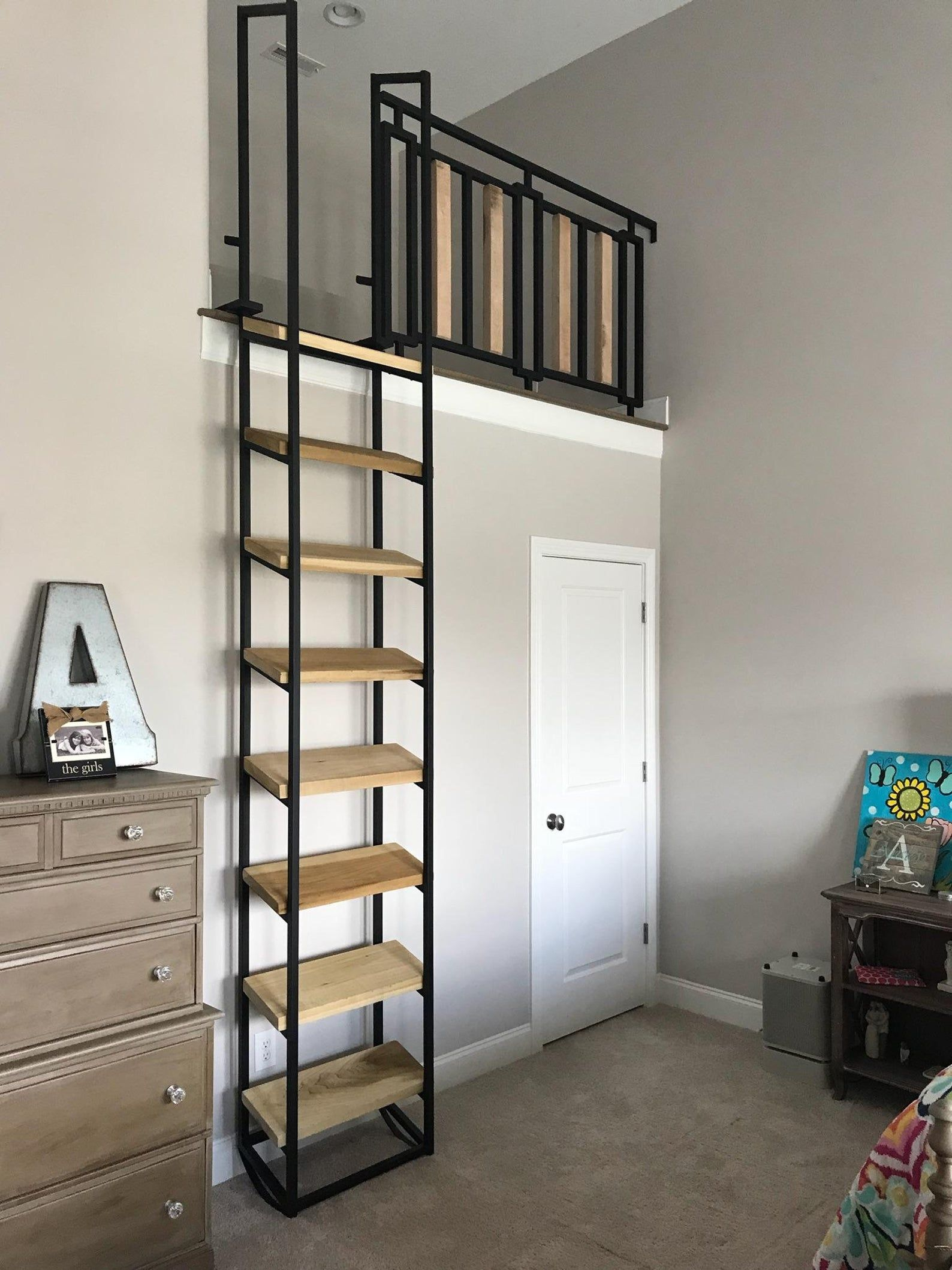 10 Ft Loft Ladder Free Shipping To Your Door Etsy In 2020 Loft Ladder Loft Railing Loft