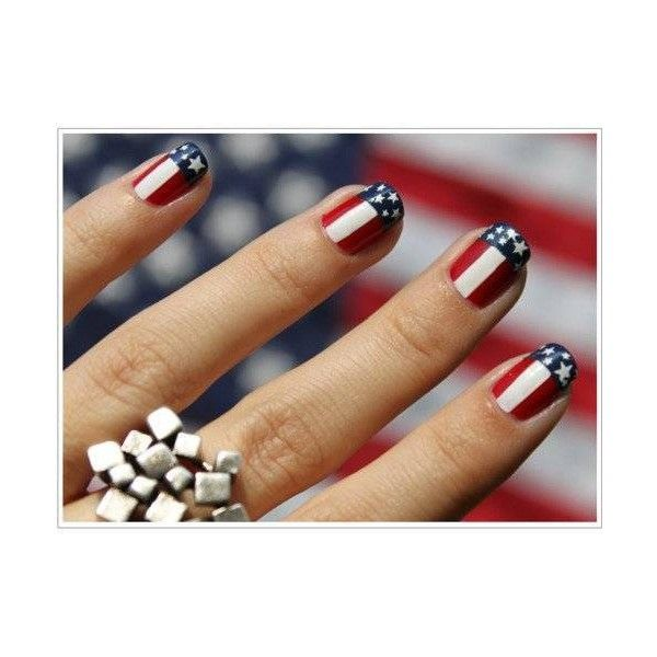 Usa Flag Nail Art Found On Polyvore Manicure July Nails