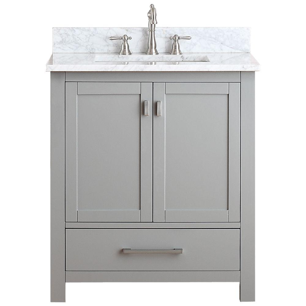 Avanity Modero 31 In W X 22 In D X 35 In H Vanity In Chilled Gray With Marble Vanity Top In Carrera White And White Basin Modero Vs30 Cg C The Home Depot