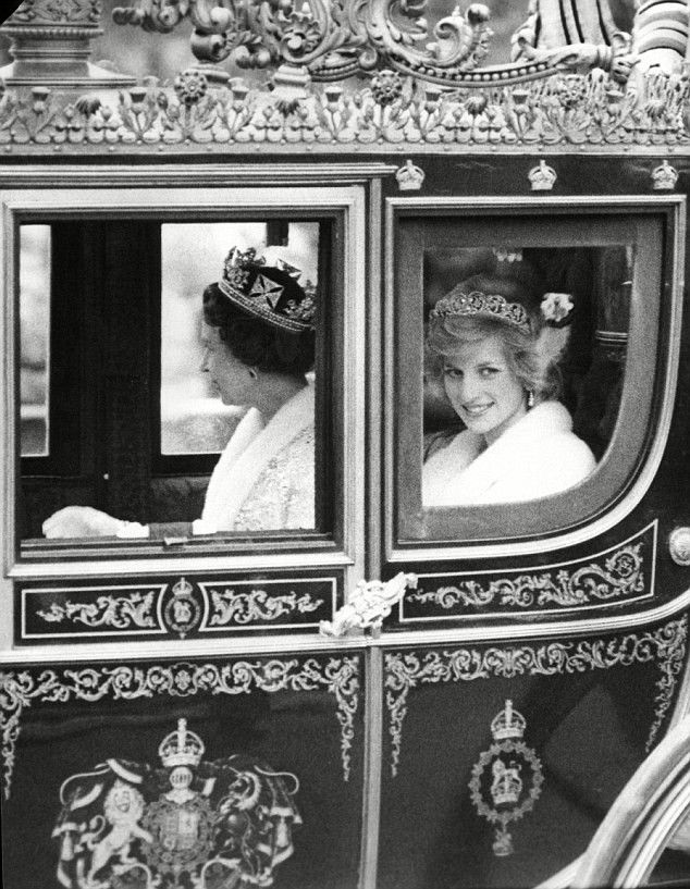 The Princess of Wales with The Queen on the way to Palace of Westminster for the Opening of Parliament session.