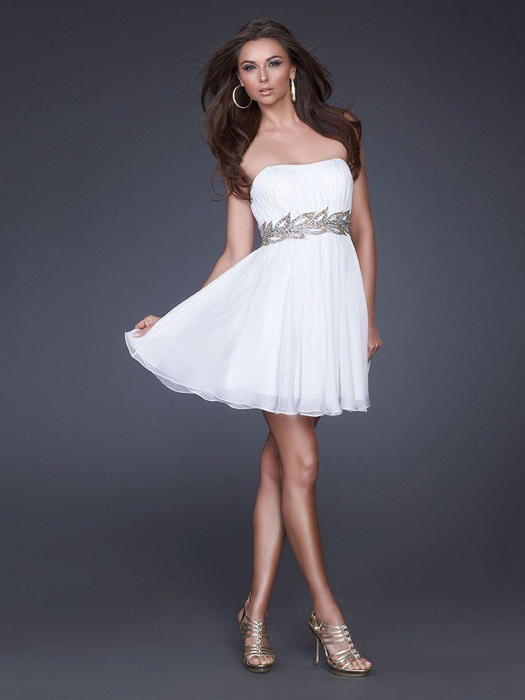 A-line Strapless White Beading Chiffon Short/Mini Prom Dress at ...
