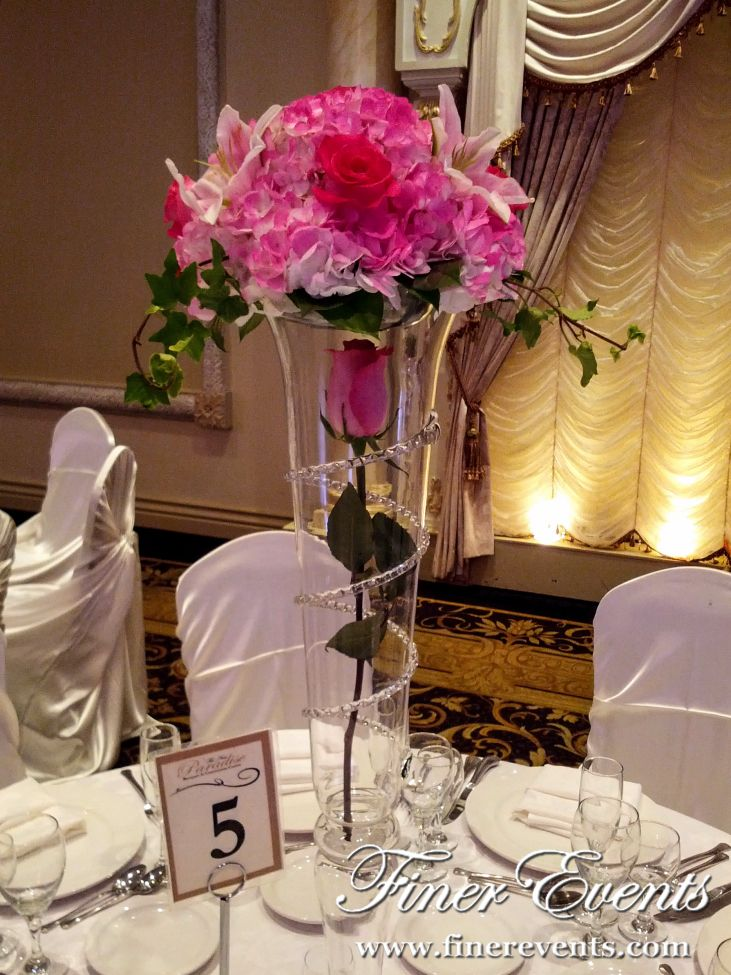 Hot Pink Floral Centrepiece Tall Glass Vase With A Single Hot Pink