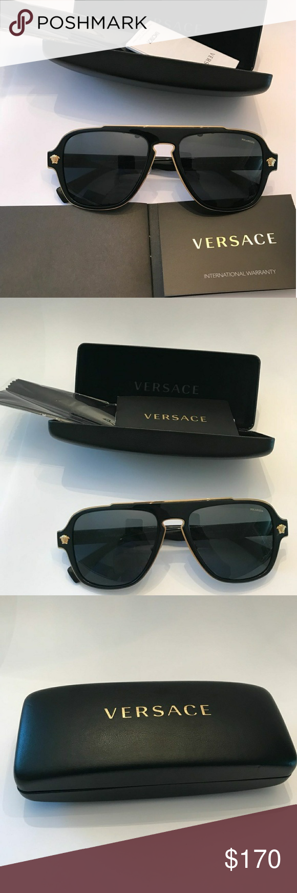 93c58cd4395 Versace Polarized Sunglasses VE2199 Black versace sunglasses. They are in  mint condition. Never used. Size 56 Versace Accessories Glasses