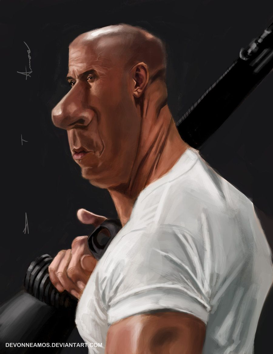 Vin Diesel as Dominic Toretto caricature by DevonneAmos.deviantart.com on @deviantART