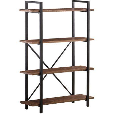Coaster 800336 Home Furnishings Bookcase Light Brown Walmart Com In 2020 Coaster Furniture Walnut Bookcase Metal Bookcase