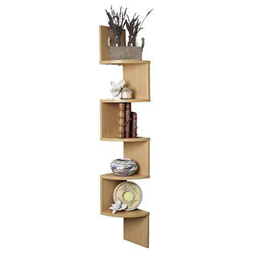 Bm Wood Furniture Zigzag Shaped 3 Curved Wall Corner Shelf Black With Images Corner Wall Shelves Wall Mounted Corner Shelves Wall Shelves