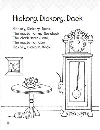 Hickory Ory Dock Early Reading Comprehension Pas Scholastic Nursery Rhyme Crafts