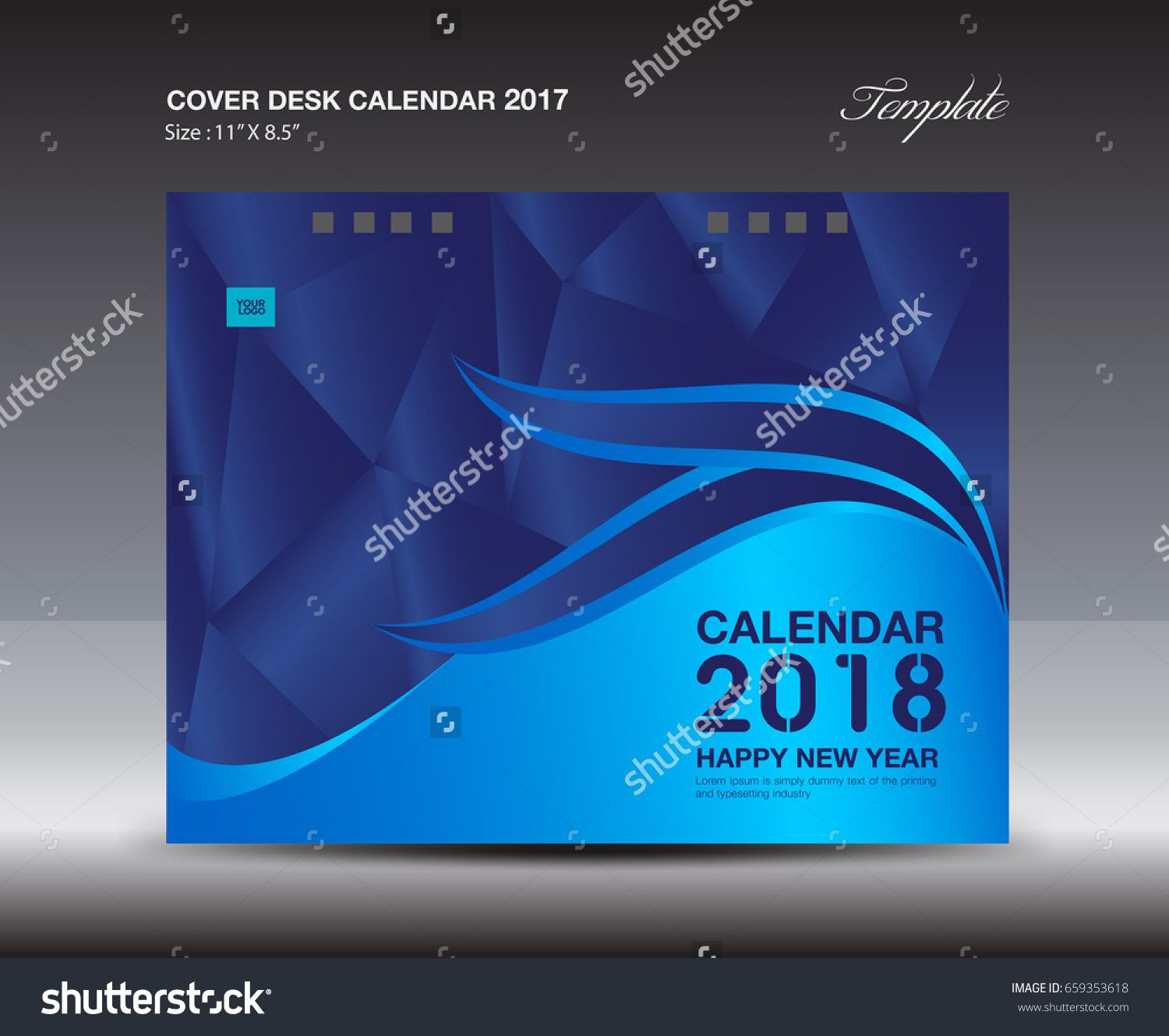 Calendar Cover 2018 : Blue cover desk calendar design template polygon