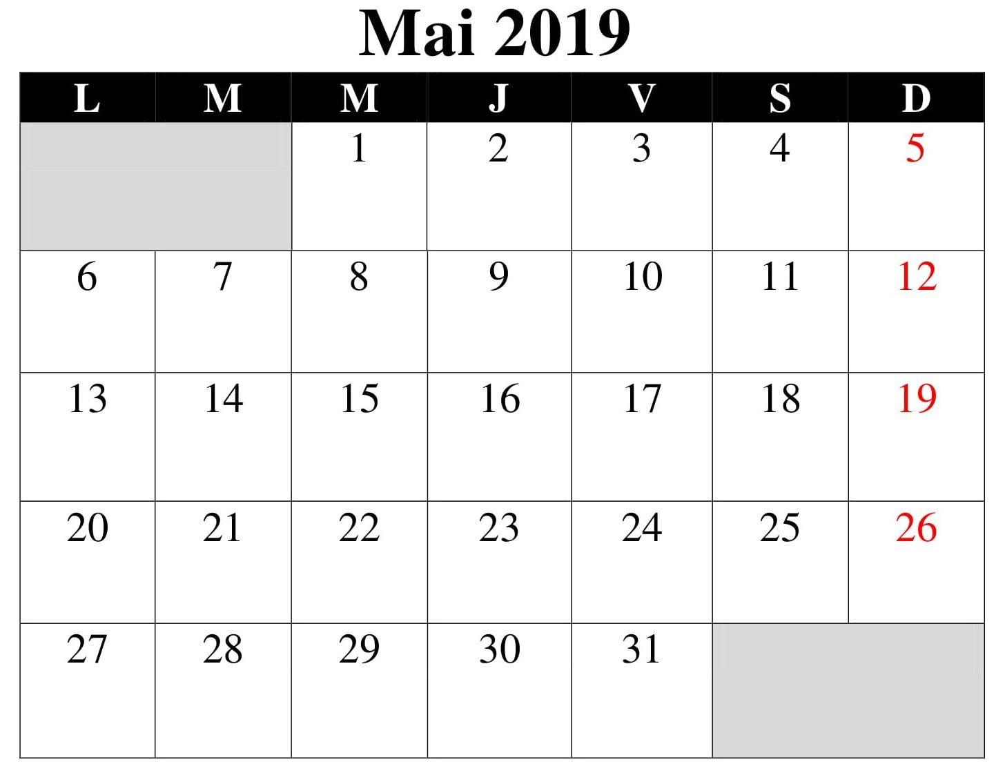 Calendrier Excell.Calendrier Mai 2019 Excel Mai Calendrier 2019 Calendar