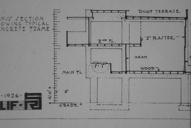 rudolph m. schindler, lovell beach house, 1926, section drawn