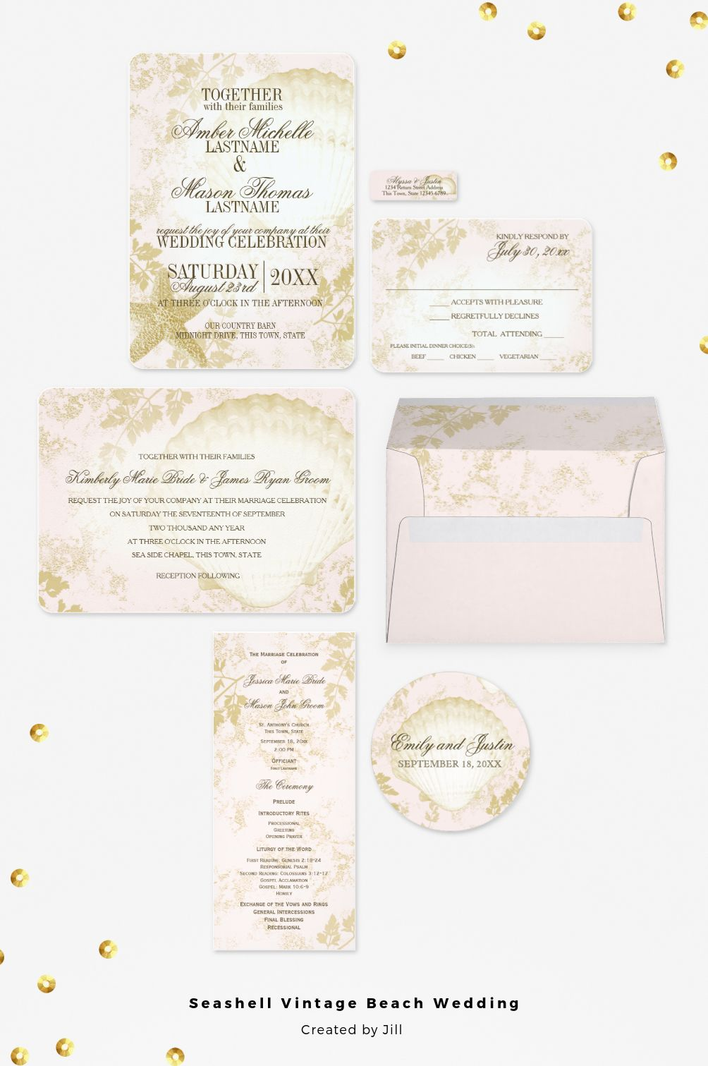 Soft blush pink and gold vintage inspired rustic beach wedding ...