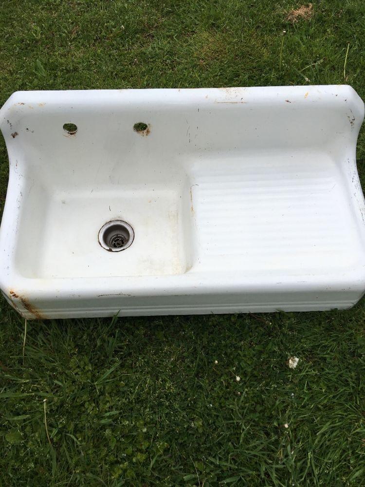 Vintage 1939 Farmhouse Single Drainboard Sink Vintage