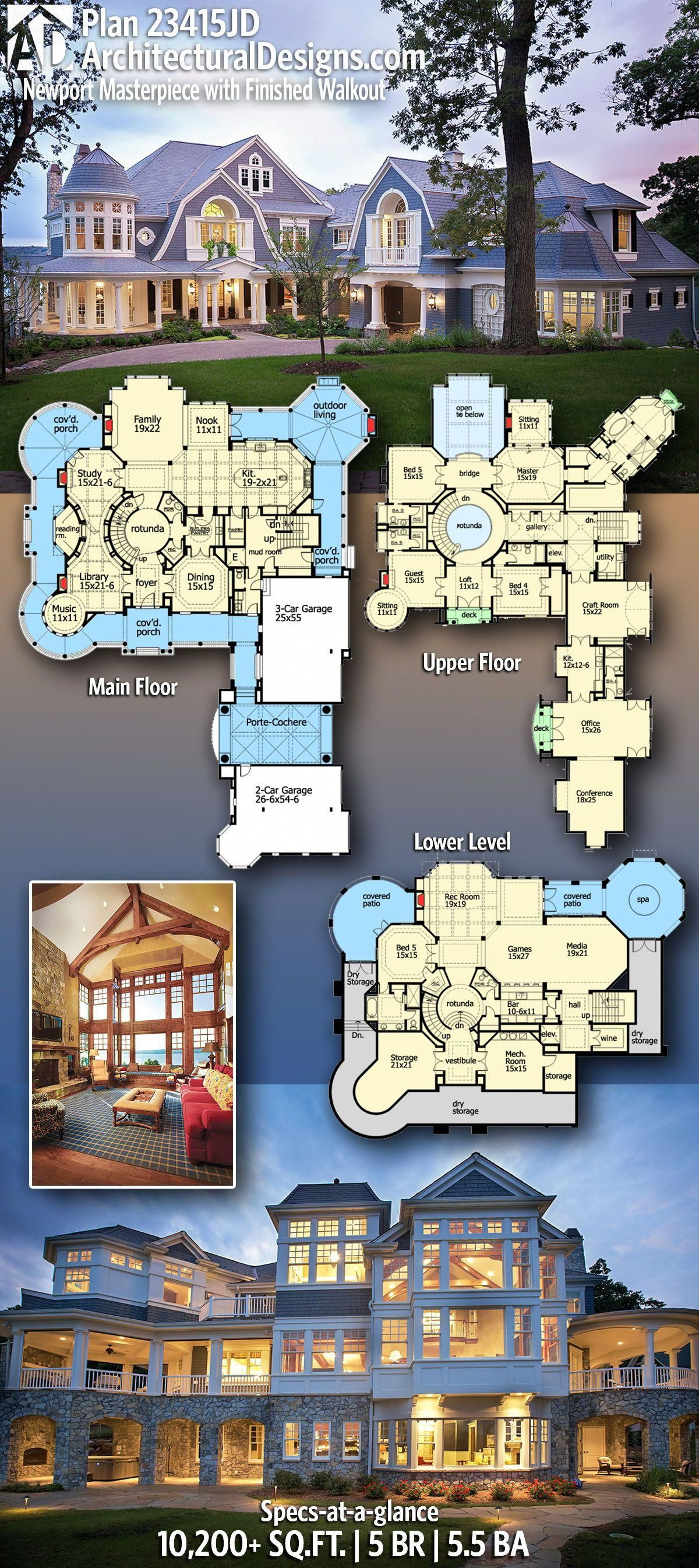 Architectural Designs Nantucket Shingle Style House Plan 23415jd Gives You 5 Bedrooms 5 5 Baths In J House Plans Mansion Bedroom House Plans Dream House Plans