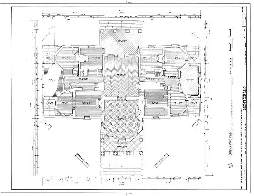 Monticello Ground Floor Plan House Plans Floor Plans